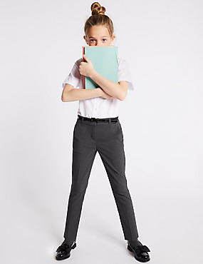 Girls' Slim Fit Skinny Leg Trousers, GREY, catlanding