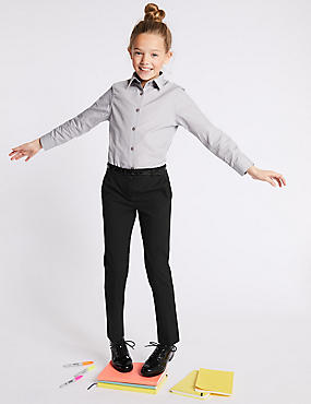 Girls' Slim Fit Skinny Leg Trousers, BLACK, catlanding
