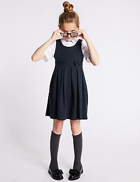Girls' Cotton Rich Knitted Pinafore, DARK NAVY, catlanding