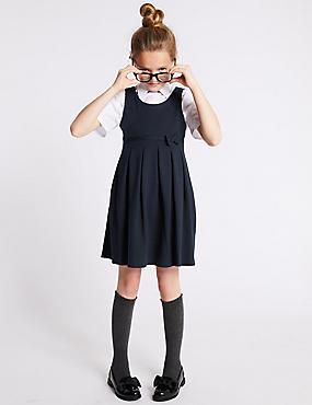 Girls' Cotton Rich Knitted Pinafore, DARK NAVY, catlanding