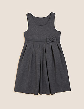 Girls' Cotton Rich Knitted Pinafore with Bow Feature
