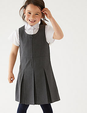 Girls' Plus Fit Pinafore, GREY, catlanding
