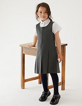 Girls' Pinafore with Permanent Pleats, GREY, catlanding