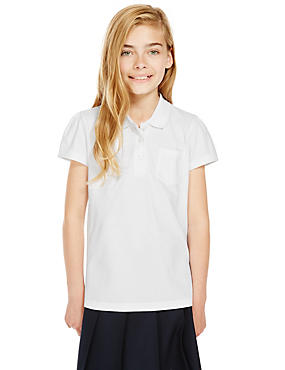 2 Pack Girls' Pure Cotton Scallop Edge Polo Shirts with Stain Away™