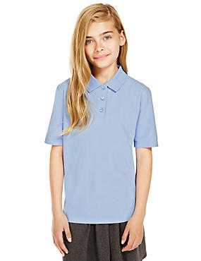 2 Pack Girls' Pure Cotton Polo Shirts with Stain Away™