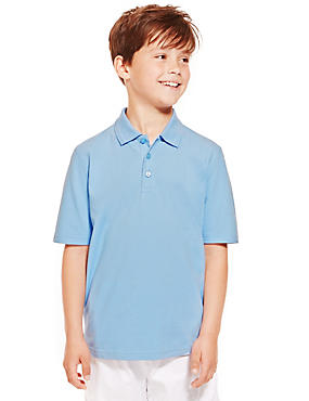 2 Pack Boys' Pure Cotton Polo Shirts, BLUE, catlanding