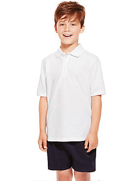 2 Pack Boys' Pure Cotton Polo Shirts with Stain Away™