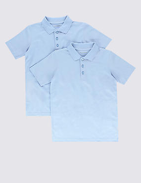 2 Pack Boys' Pure Cotton Slim Fit Polo Shirts with Stain Away™