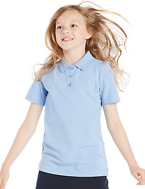 2 Pack Girls' Pure Cotton Slim Fit Polo Shirt with Stain Away™