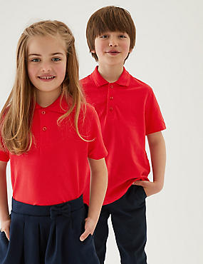 3 Pack Unisex Pure Cotton Polo Shirts, RED, catlanding