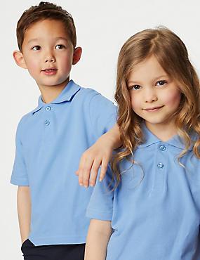 3 Pack Unisex Pure Cotton Polo Shirts, BLUE, catlanding