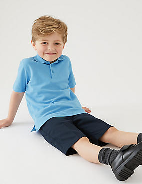 2 Pack Boys' Stain Resist Polo Shirts, BLUE, catlanding