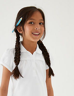 2 Pack Girls' Cotton Polo Shirts with Stretch