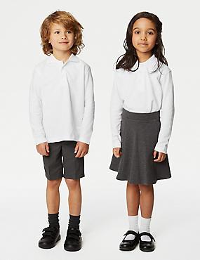 2 Pack Unisex Easy Dressing Polo Shirts, WHITE, catlanding