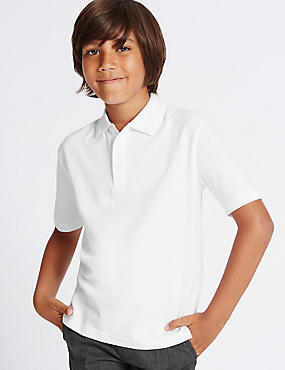 3 Pack Boys' Pure Cotton Polo Shirts with StayNEW™