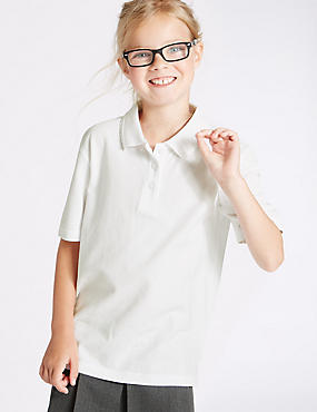 3 Pack Girls' Pure Cotton Polo Shirts