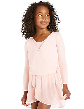 Girls' Pure Cotton Ballet Jersey Wrap Cardigan