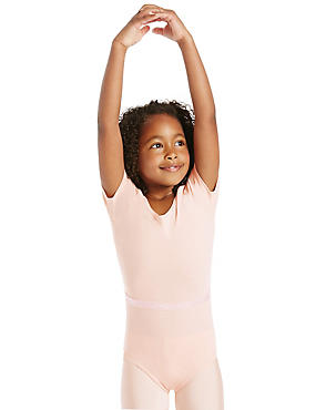 Cotton Rich Short Sleeve Ballet Leotard With Belt