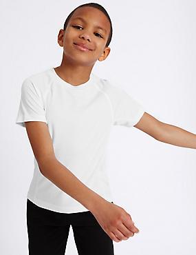Boys' Sports T-Shirt, WHITE, catlanding