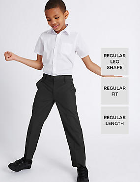 2 Pack Boys' Crease Resistant Flat Front Adjustable Waist Trousers with Triple Action Stormwear™