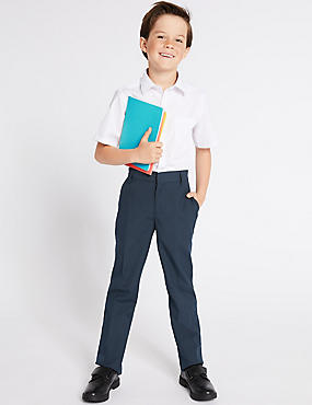 2 Pack Boys' Slim Leg Trousers, NAVY, catlanding