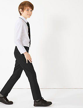 2 Pack Boys' Skinny Leg Trousers, BLACK, catlanding