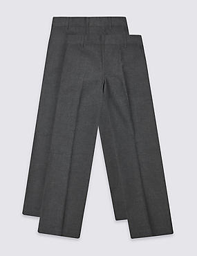 2 Pack Boys' Trousers with Crease Resistant