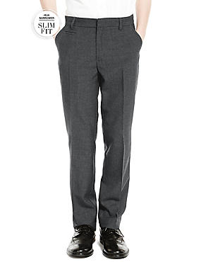 Crease Resistant Supercrease™ Boys' Slim Fit Flat Front Slim Leg Trousers with Stormwear™