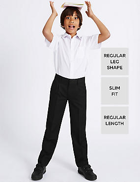 Boys' Pleat Front Supercrease™ Slim Fit Trousers with Crease Resistant & Stormwear™