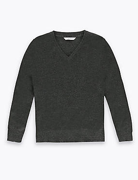 New Fabric Unisex Wool Blend V-Neck Jumper