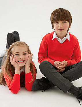 2 Pack Unisex Pure Cotton Jumper, RED, catlanding