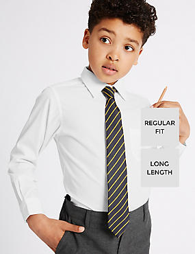 2 Pack Boys' Ultimate Non-Iron Long Sleeve Shirts with Stain Away™ in Longer Lengths