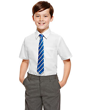 2 Pack Boys' Ultimate Non-Iron Short Sleeve Shirts with Stain Away™ in Longer Lengths
