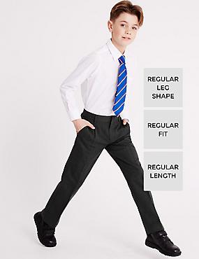 Boys' Pleat Front Trousers, GREY, catlanding