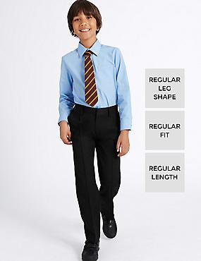 Boys' Pleat Front Trousers, BLACK, catlanding