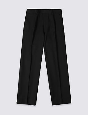 Boys' Pleat Front Supercrease™ Straight Leg Trousers with Crease-Resistance & Triple Action Stormwear™