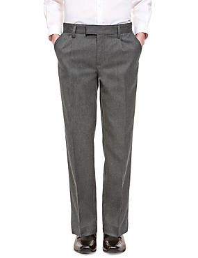 Boys' Pleat Front Trousers with Supercrease™ in Shorter & Longer Lengths with Stormwear+™