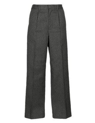 Plus Fit Boys' Pleat Front Classic Trousers with Supercrease™ Clothing