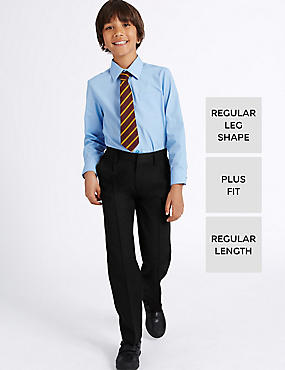 Boys' Plus Fit Pleat Front Adjustable Waist Supercrease™ Trousers with Stormwear™ & Crease Resistant
