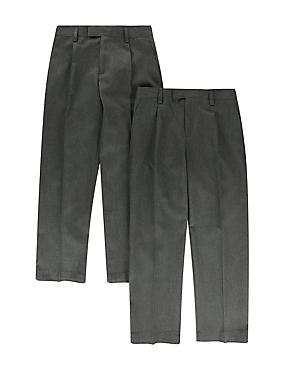 2 Pack Boys' Crease Resistant Adjustable Waist Flat Front Supercrease™ Trousers with Triple Action Stormwear™