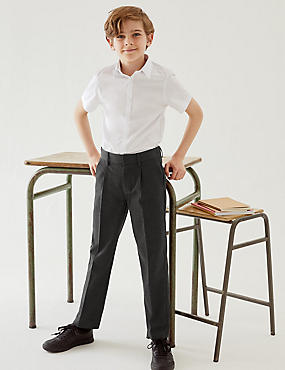 Boys' Regular Leg Slim Fit Trousers, GREY, catlanding