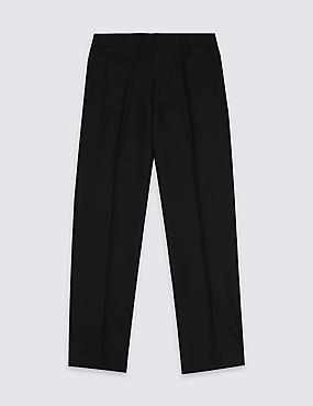 Boys' Plus Fit Crease Resistant Supercrease™ Slim Leg Trousers with Triple Action Stormwear™