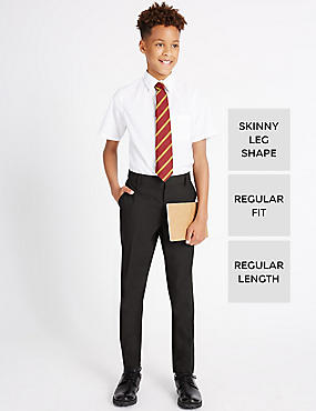 Senior Boys' Flat Front Skinny Leg Trousers