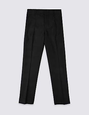 Senior Boys' Flat Front Skinny Adjustable Waist Trousers with Supercrease™ & Triple Action Stormwear™