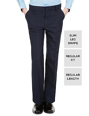 Boys' Slim Leg Trousers, NAVY, catlanding
