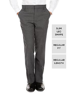 Boys' Slim Leg Trousers, GREY, catlanding