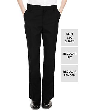 Boys' Slim Leg Trousers, BLACK, catlanding