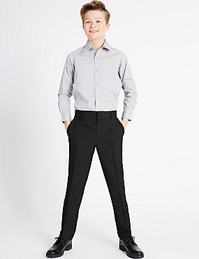 Senior Boys' Slim Leg Trousers, CHARCOAL, catlanding