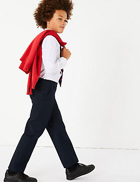 Boys' Slim Leg Trousers with Supercrease™, NAVY, catlanding