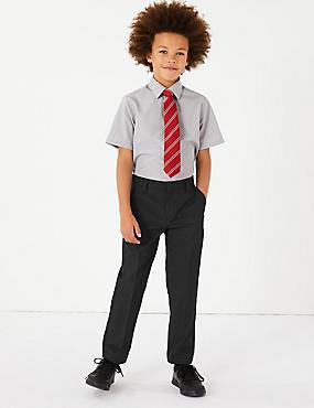 Boys' Slim Leg Trousers with Supercrease™, BLACK, catlanding